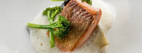 Sea Trout with Scallop Tortellini, Tenderstem® Broccoli & Scallop Velouté