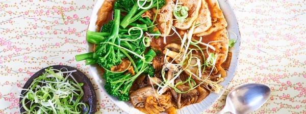 Tofu, Tenderstem® broccoli and Kimchi stew by Meera Sodha