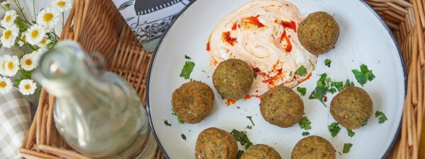 Tenderstem® broccoli and Mint Falafels with Harissa and Labneh Dip