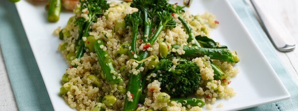 Quinoa Salad with Tenderstem® broccoli, Soy Beans & Chilli Dressing Served with BBQ Halloumi & Spring Onion Kebabs