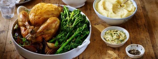 Roast Chicken with Figs, Vinocotto Gravy & Tenderstem® broccoli in Tarragon & Walnut Butter