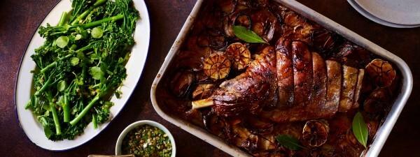 Slow Roast Lamb Leg with Tenderstem® broccoli, Lemon & Caper Dressing