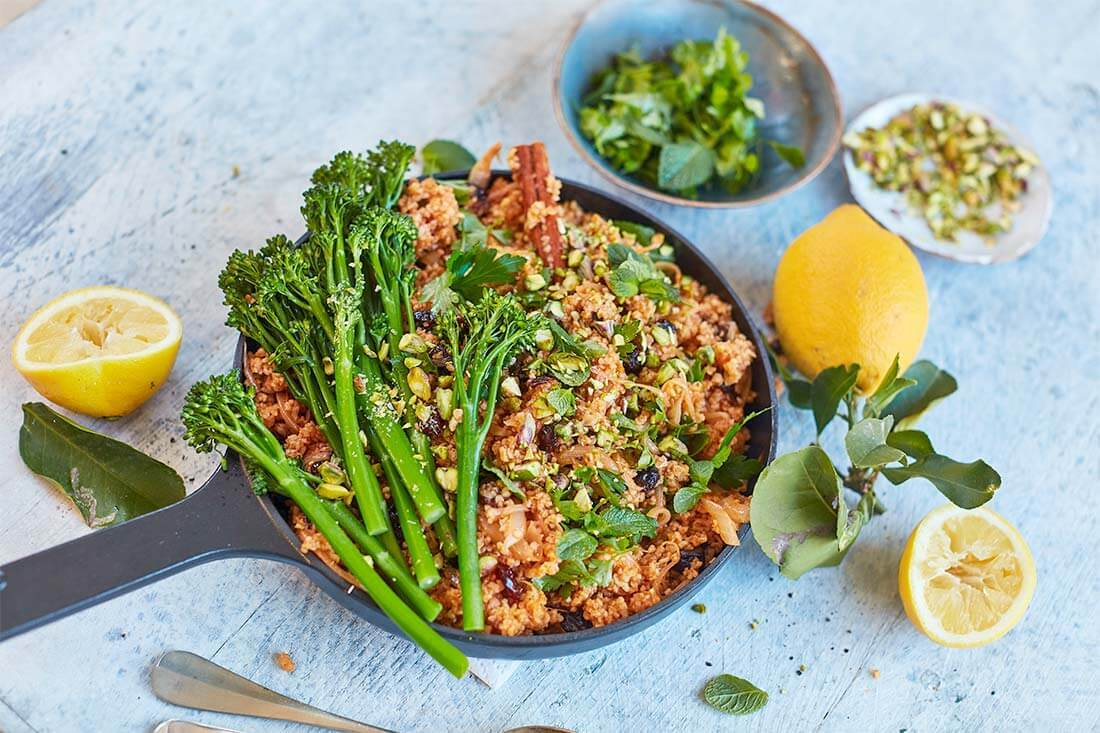 Pilafi with Tenderstem broccoli sour cherries and pistachios by Georgina Hayden 10832