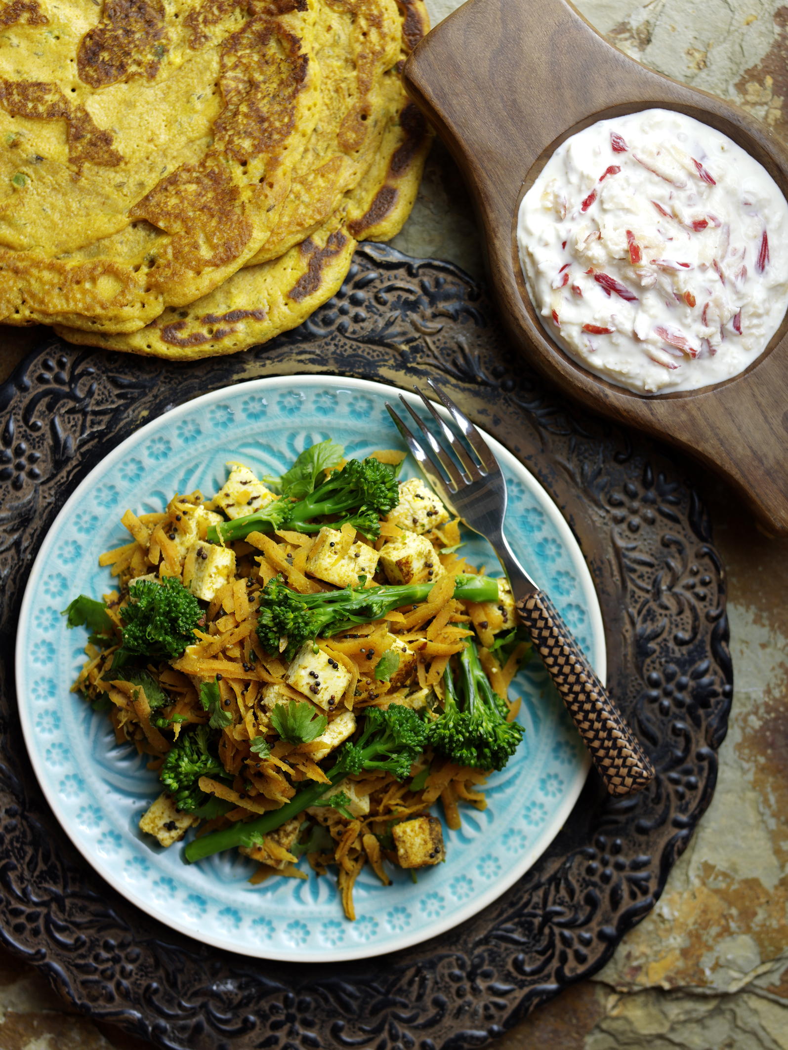 Tenderstem Paneer and Carrot Sambhal served with Poodla and Pink Lady Raita