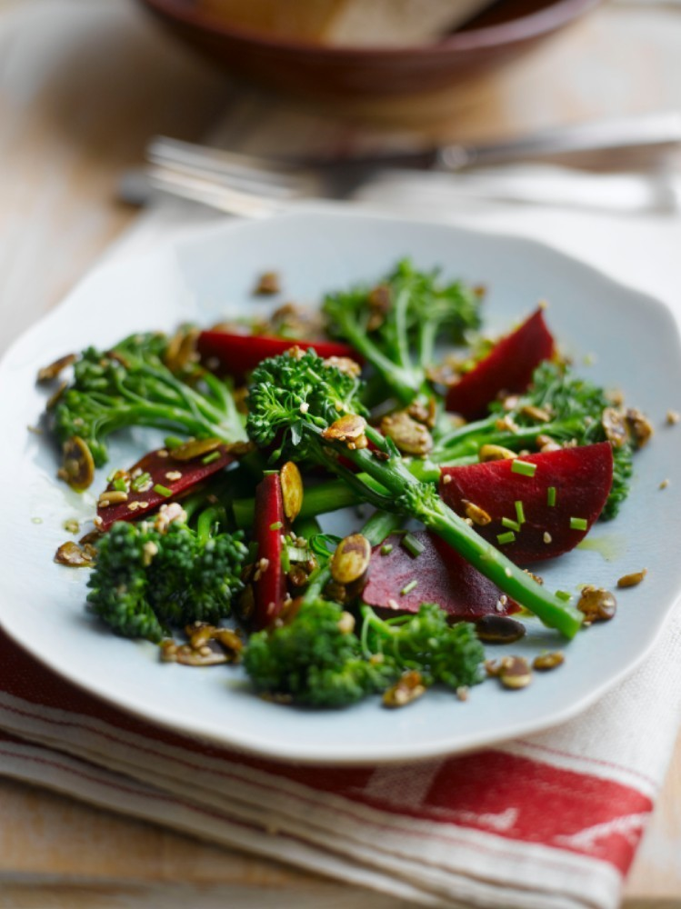 Tenderstem beetroot and toasted seed salad with lemon dressing