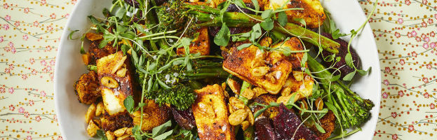 Tenderstem® broccoli Paneer and Beetroot indian spiced salad