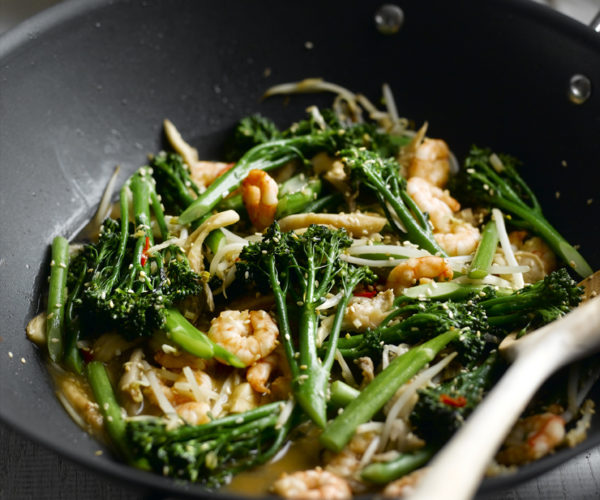 Stir-fried-prawns-and-tenderstem-with-oriental-seasoning