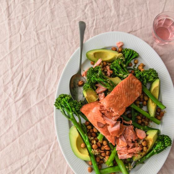 Pan-fried salmon with Tenderstem® broccoli and crispy chickpeas