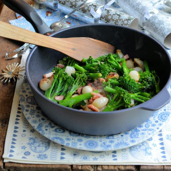 Tenderstem® broccoli with Glazed Pearl Onions & Lardons