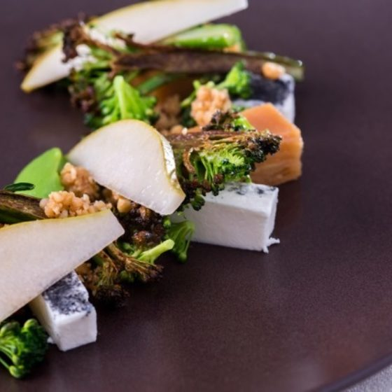 Tenderstem® Broccoli, Cerney Ash Goat's Cheese, Quince Terrine, Hazelnuts by Paul Foster